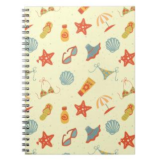 Summer Beach Pattern Spiral Notebook