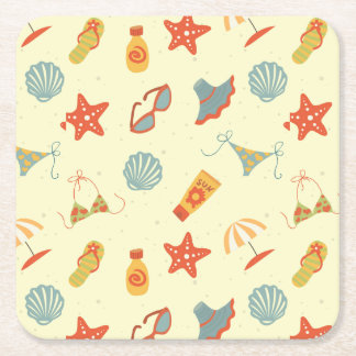Summer Beach Pattern Square Paper Coaster