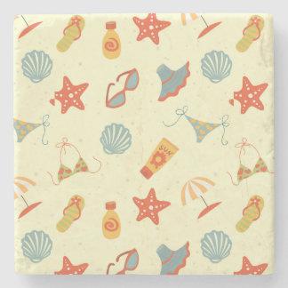 Summer Beach Pattern Stone Coaster