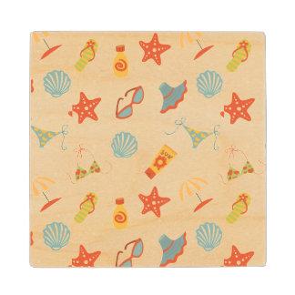 Summer Beach Pattern Wood Coaster