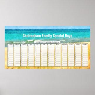 Summer Beach Perpetual Birthday Calendar Poster
