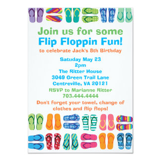 Summer Beach Pool Flip Flops Birthday Party Card