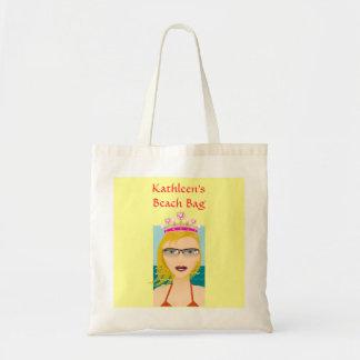 Summer Beach Princess with Tiara Crown Custom Name Bag