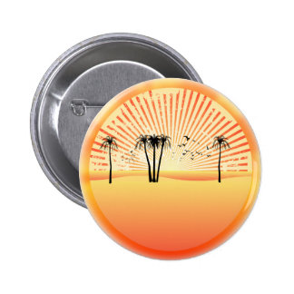 Summer Beach Scene: Vector Drawing 6 Cm Round Badge