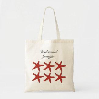 Summer Beach Starfish Shells Wedding Bridesmaid Budget Tote Bag