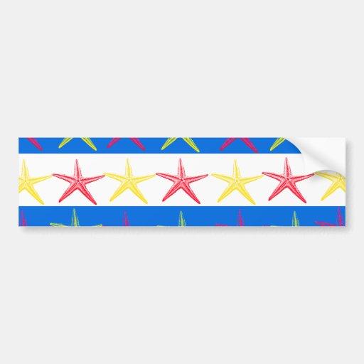 Summer Beach Theme Starfish Blue Striped Pattern Bumper Stickers