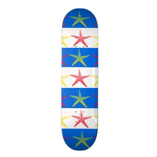 Summer Beach Theme Starfish Blue Striped Pattern Skate Decks