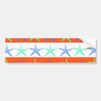 Summer Beach Theme Starfish on Orange Stripes Bumper Sticker