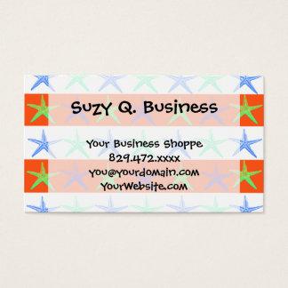 Summer Beach Theme Starfish on Orange Stripes Business Card