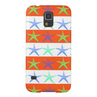 Summer Beach Theme Starfish on Orange Stripes Galaxy S5 Cover