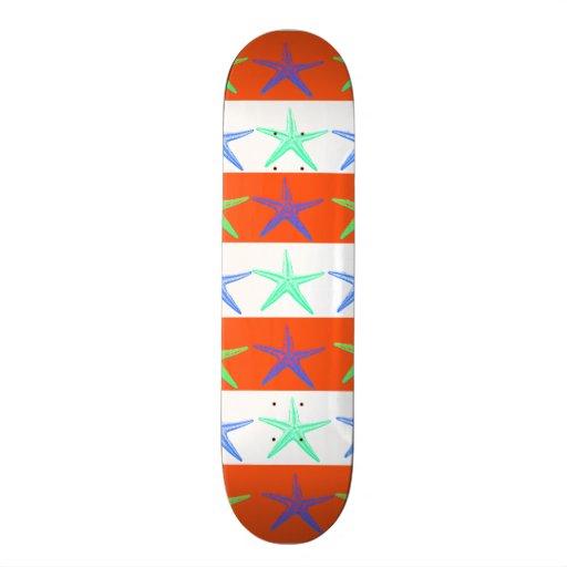 Summer Beach Theme Starfish on Orange Stripes Skate Board