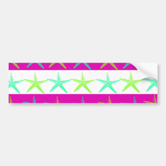 Summer Beach Theme Starfish on Purple Stripes Bumper Sticker