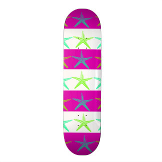 Summer Beach Theme Starfish on Purple Stripes Skateboard