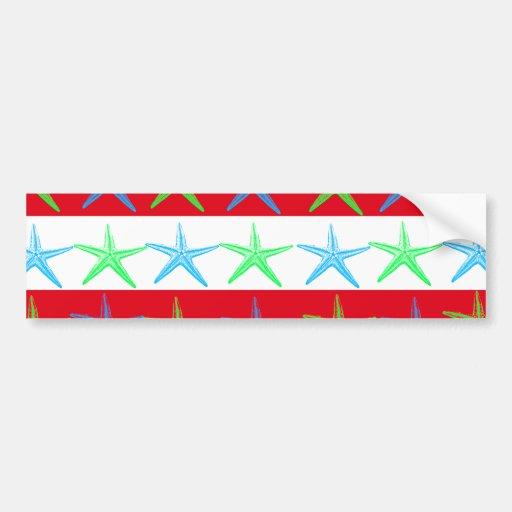 Summer Beach Theme Starfish on Red Striped Pattern Bumper Sticker