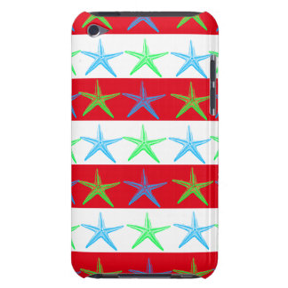 Summer Beach Theme Starfish on Red Striped Pattern Barely There iPod Covers