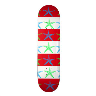 Summer Beach Theme Starfish on Red Striped Pattern Custom Skateboard