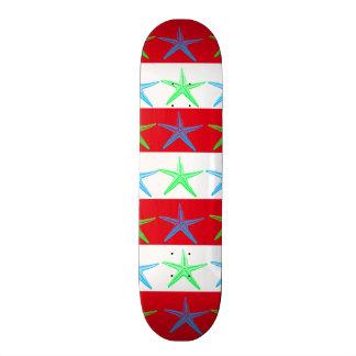 Summer Beach Theme Starfish on Red Striped Pattern Custom Skateboard