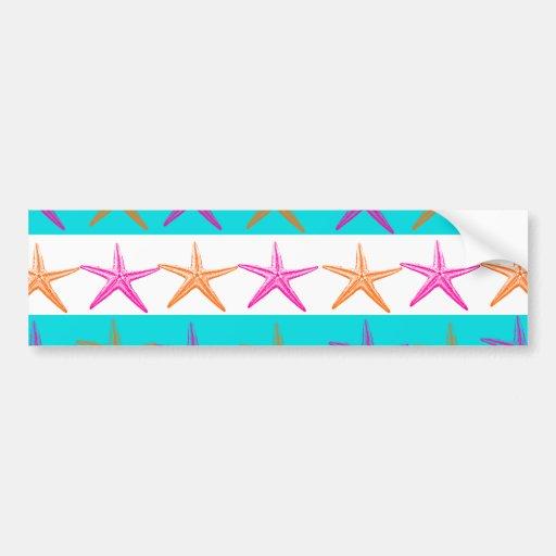Summer Beach Theme Starfish on Teal Stripes Bumper Stickers