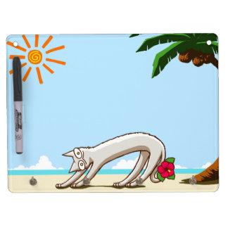 Summer Beach Tropical Cat Dry Erase White Board