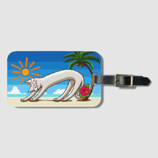 Summer Beach Tropical Cat Luggage Tag