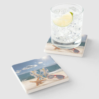 Summer Beach Vacation Stone Coaster