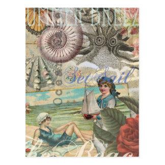 Summer beach vintage retro victorian postcard