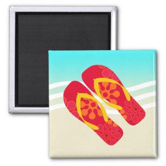 Summer Beach Waves Flip Flops Magnet