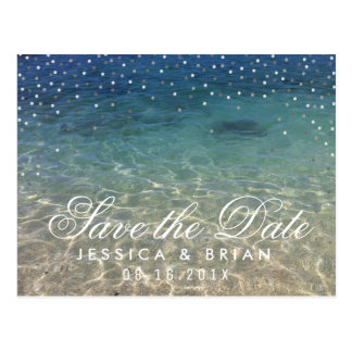 Summer Beach Wedding Blue Ocean Save the Date Postcard