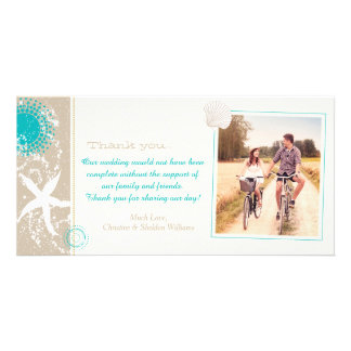 Summer Beach Wedding Celebration Thank You Picture Card