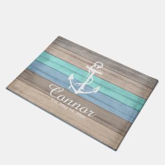 Summer Beach Wood Nautical Stripe Doormat   Zazzle