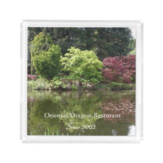 Summer beautiful botanical garden landscape. acrylic tray