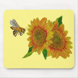 Summer Bee Sunflower Apiary Mouse Pad