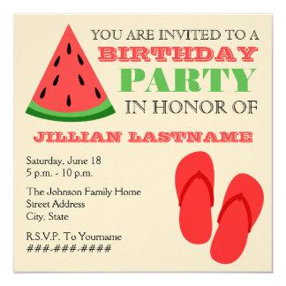 Summer Birthday Party - Flip Flops & Watermelon 5.25x5.25 Square Paper Invitation Card