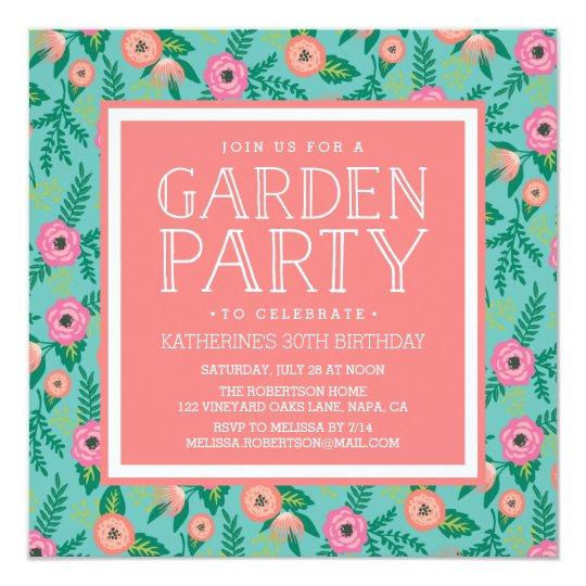 Summer Blooms Garden Party Invitation