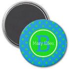Summer Blue and Green Polka Dot Monogram Magnet