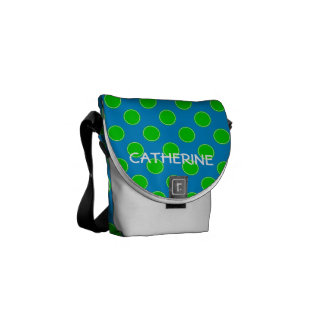 Summer Blue and Green Polka Dot Personalized Messenger Bag