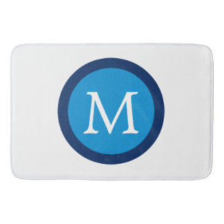 Summer Blue and Navy Polka Dot Monogram Bath Mat