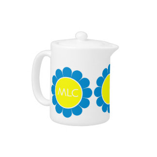Summer Blue and Sunshine Retro Daisy Monogram