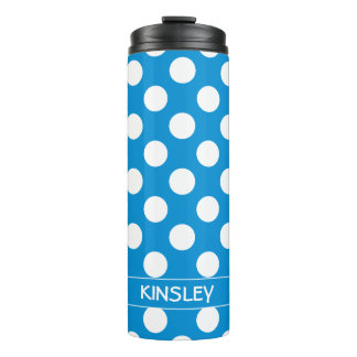 Summer Blue and White Polka Dot Personalized Thermal Tumbler