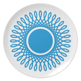 Summer Blue Bursts on White Plate