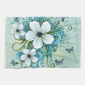 Summer Blue Floral & Butterflies Tea Towel