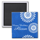 Summer Blue flowers Happy Birthday Name Magnet