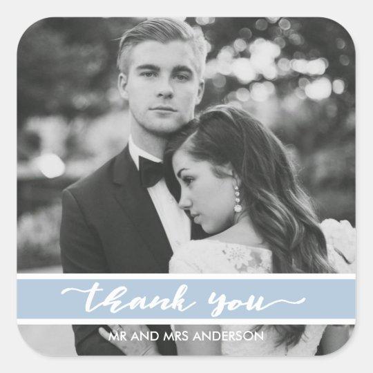 Summer Blue Script Wedding Photo Thank You Square Sticker