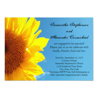 Summer Blue Sky, Yellow Sunflower Engagement Party Card