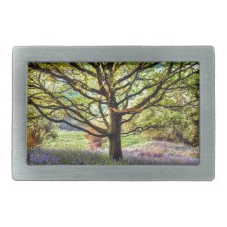 Summer bluebells in a woodland setting rectangular belt buckle