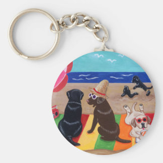Summer Breeze Labradors Painting Basic Round Button Key Ring