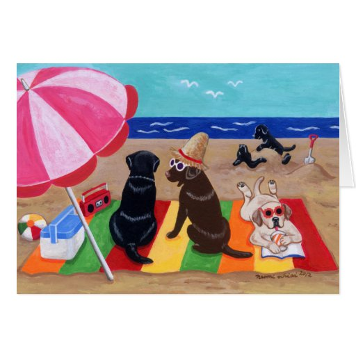 Summer Breeze Labradors Painting Greeting Card