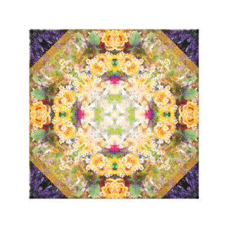 Summer Bridal Bouquet Mandala Canvas Print