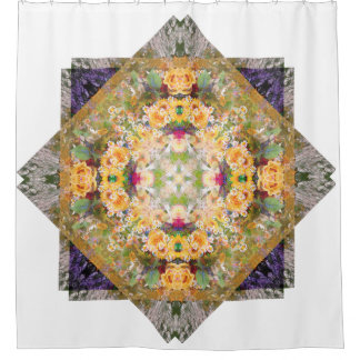 Summer Bridal Bouquet Mandala Shower Curtain