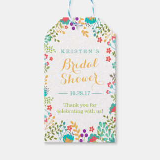 Summer Bright Cute Flowers Bridal Shower Thank You Gift Tags